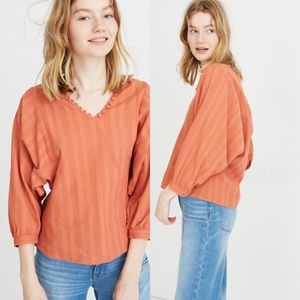 Raglan Peasant Top in Stripe in sweet dahlia